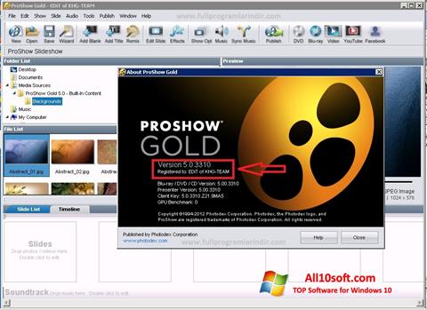 Screenshot ProShow Gold Windows 10