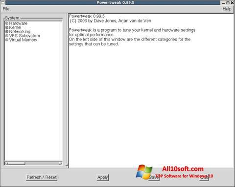 Screenshot PowerTweak Windows 10