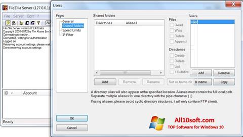 Screenshot FileZilla Server Windows 10
