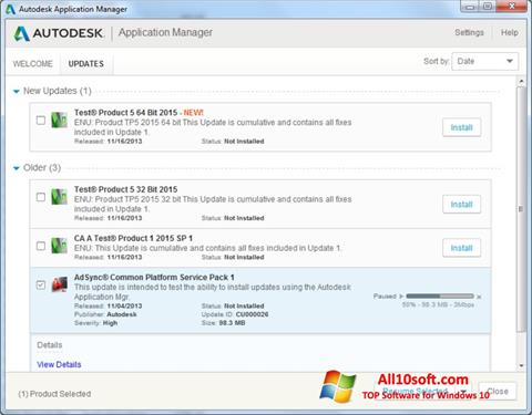 Screenshot Autodesk Application Manager Windows 10
