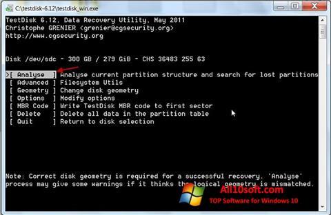 Screenshot TestDisk Windows 10