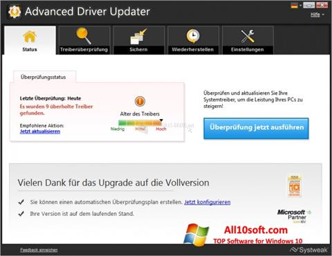 Screenshot Advanced Driver Updater Windows 10