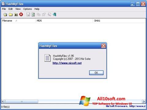 Screenshot HashMyFiles Windows 10